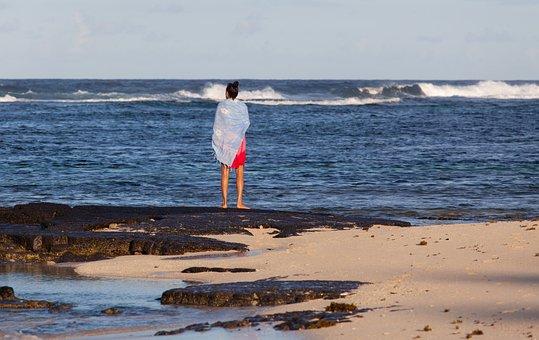 Woman Looking At Sea, Woman On Beach