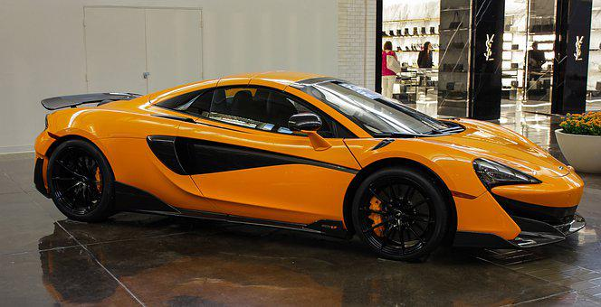 Mclaren, Luxury Car, Shopping Mall, Luxury, Yellow