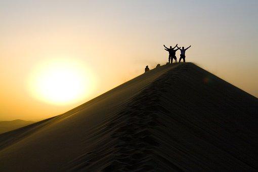 Sand, Dune, Sunset, Success, Achievement, Adventure