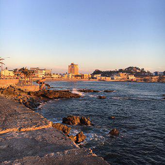 Mazatlan, Beach, Seawall, Rocks, Ocean, Sunset