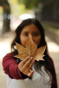 Leaf, Girl, Woman, Autumn, Bokeh, Female, Street, Red