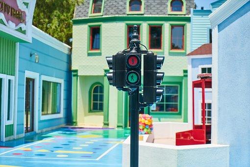 Traffic, Lamp, Park, Child, Game, Education, Building