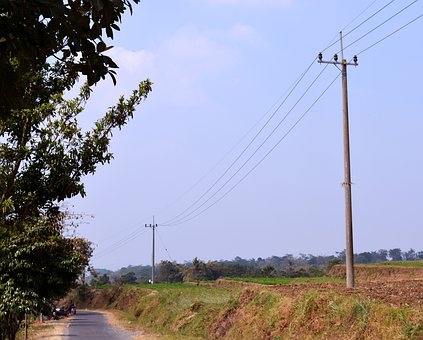 Road, Sky, Electric Power Poles, Clouds, Trees, Blue