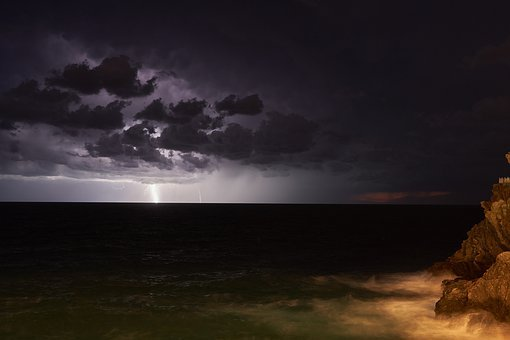Thunderstorm, Clouds, Sea, Flashes, Forward, Water