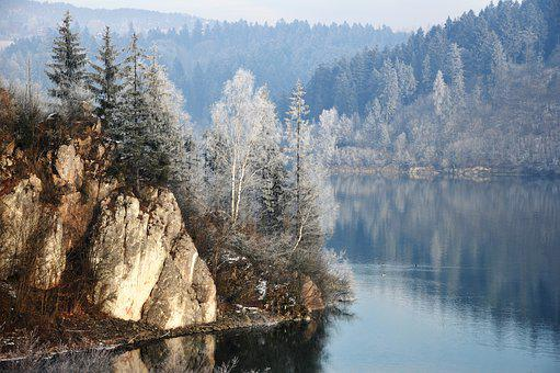 Mountains, Winter, Forest, Lake, Rocks, Ferie, Cold