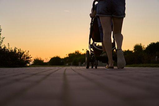 Woman, Baby Carriage, Run, Go, Walk, Away, Promenade