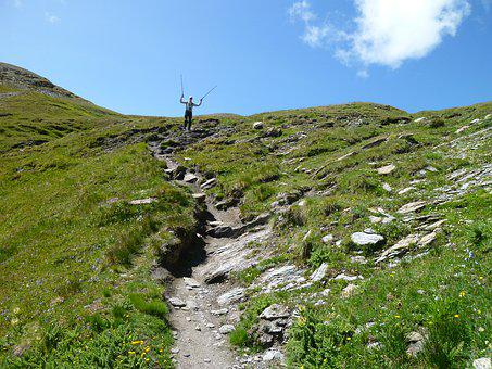 Alps, Mountains, Hiking, Top, Good Luck, Happy, Excited