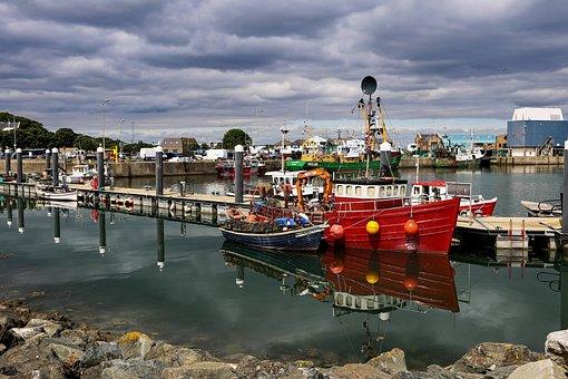 Ireland, Sea, Water, Boats, Harbour, Mirroring, Port