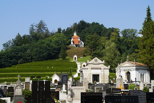 Cemetery, Kamnik, Slovenia, Green, Hill, On A Slope