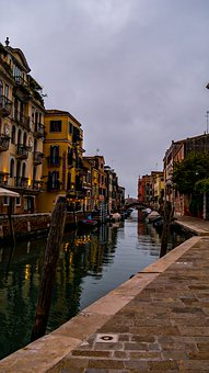 Venice, Docks, Italy, Channel, Boats, Houses