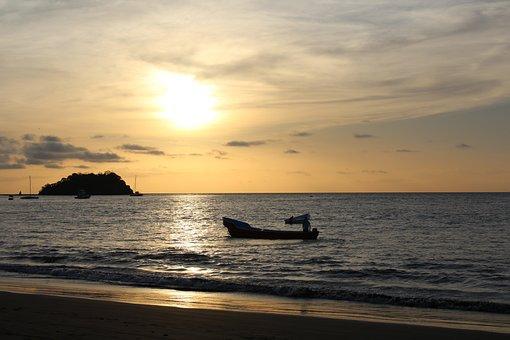 Sunset, Boat, Costa Rica, Water, Sea, Ocean, Dawn, Calm