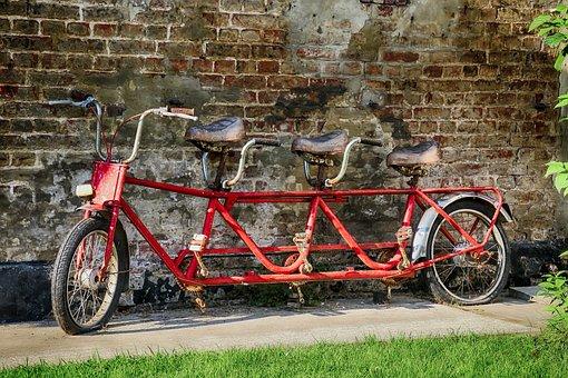 Bike, Triplet, Tandem, Old, Former, Rust, Leisure, Time