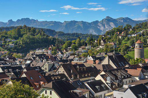 City, Over The Roofs Of Feldkirch, Landscape