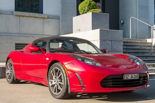 Tesla Car, Red Convertible, Red Sports Car, Convertible
