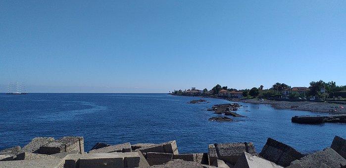 Beach, Riposto, Sea, Rocks, Breakwater, Blue, Calm