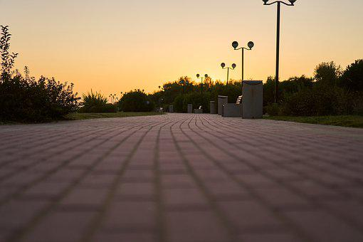 Away, Promenade, Sunset, Paving Stones, Trees, Sky