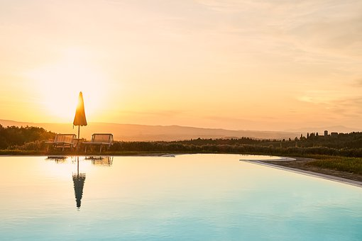 Pool, Sunset, Water, Vacations, Sky, Evening