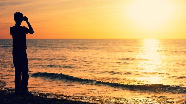 Beach, Sunset, Boy, Ocean, Sea, Water, Wave, Bank