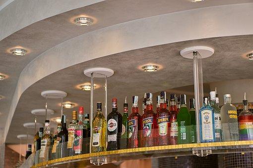 Alcohol, Beverages, Bar, Shelf, Bottles, Sorted, Aperol