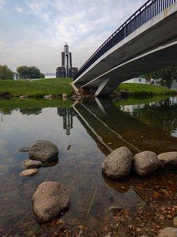 Bridge, Minsk, Belarus, Island, Chapel, Stones, Pond