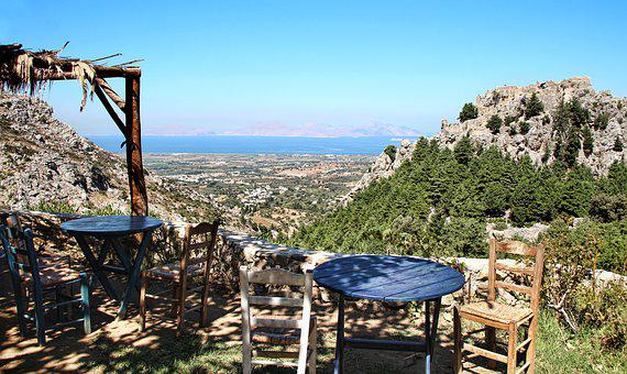 View, Greece, Kos, Chair, Table, Castle, Paleo Pili