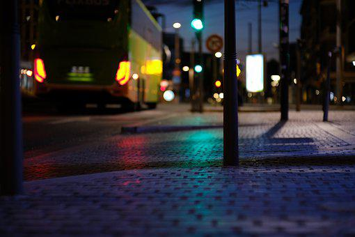 Night, Outdoor, Light, City, Street, Bus