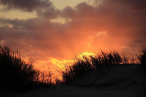 Sunset, Romantic, Bright, Clouds, Sky, Orange, Shining
