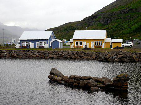 Houses, Rocks, Water, Sea, Coast, Nature, Summer