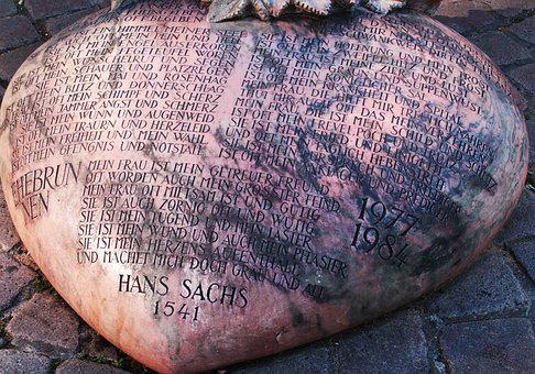 Nuremberg, Hans Sachs, Stone, Heart, Poem, Monument