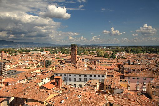 Lucca, Tuscany, Italy, Roof, Tiles, Landscape, Italian
