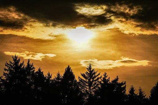 Sunset, Moonrise, Full Moon, Twilight, Evening