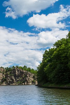 Vranov, Water, Sky, Clouds, Bank, Rock, Nature, Summer
