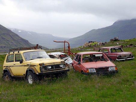 Scrapyard, Cars, Scrap, Old, Grass, Mountains, The Sky