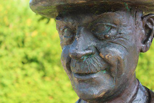 Gmund, Tegernsee, Statue, Thomas Mann, Head, Bronze