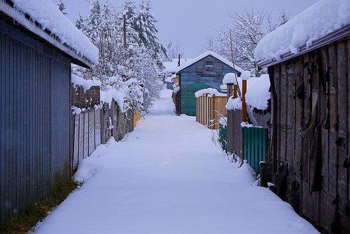 Winter, Alley, Snow