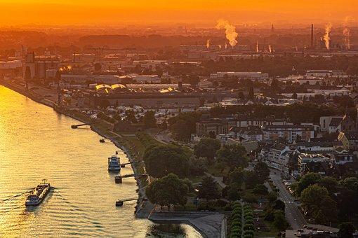 Rhine, Andernach, Sunrise, Morning, Golden Hour, Ship