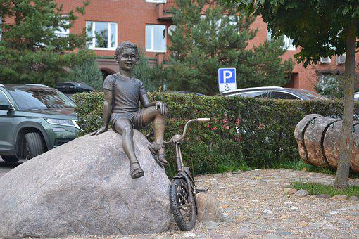 Sculpture, Boy, Bike, Bronze, Stone, Baby, Park