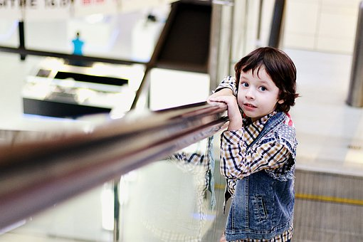 Escalators, People, Boy, Kids, Supermarket