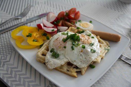 Breakfast, Eggs, Scrambled Eggs, Vegetables, Cutlery