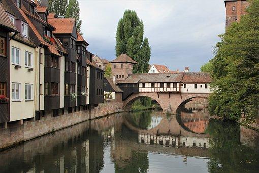 Nuremberg, River, Reflection, Old, Building