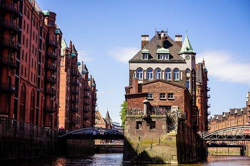 Hamburg, Brick, Building, Channel, Waterways, Fleet