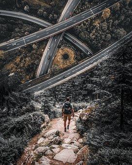 Road, Forest, Man, Journey, Tourist, Trail, Photoshop