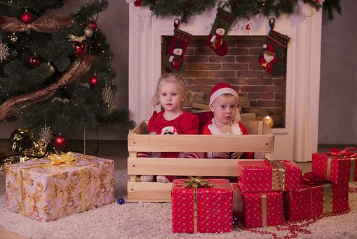 Christmas, Gifts, Kids, Box, Red, Holiday
