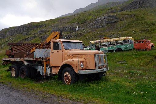 Scrapyard, Nature, Country, Scrap, Cars, Iceland