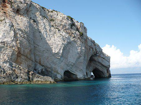 Greece, Zakynthos, Island, Summer, Rock, Blue Caves