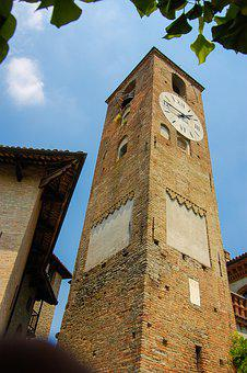 Piedmont, Church, Sky, Clock, Italy, Architecture
