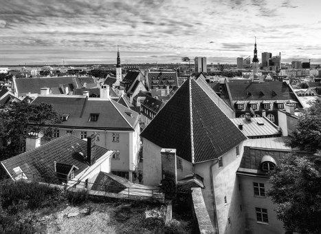 Panorama, Architecture, City, Landscape, Monochrome