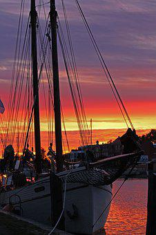 Port, Greifswald, Harbour Museum, Sunset, Sailing Boats