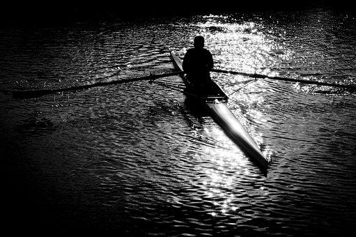 Rowing, Black And White, Dark, Silhouette, Sports
