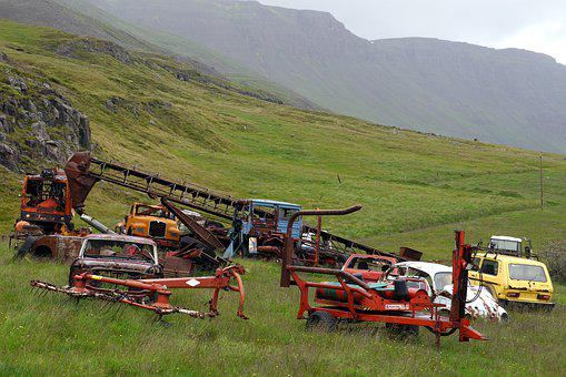 Machines, Cars, Rust, Scrapyard, Country, Nature